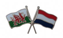 Netherlands and Wales Friendship Flag Pin Badge